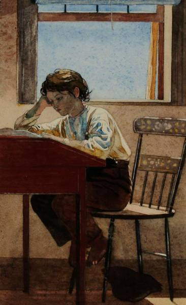 Wall Art - Painting - Homework by Winslow Homer