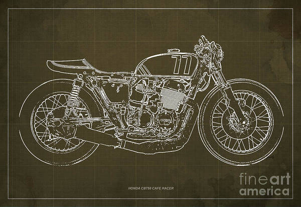 Racer Digital Art - Honda Cb750 Cafe Racer Blueprint, Vintage Brown Background by Drawspots Illustrations
