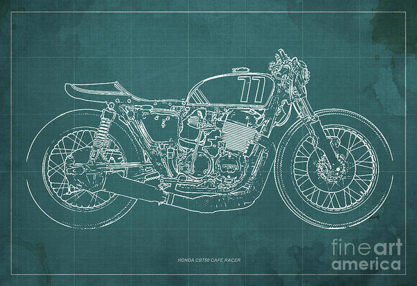 Racer Digital Art - Honda Cb750 Cafe Racer Blueprint, Vintage Green Background by Drawspots Illustrations