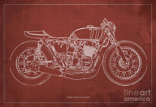 Racer Digital Art - Honda Cb750 Cafe Racer Blueprint, Vintage Red Background by Drawspots Illustrations