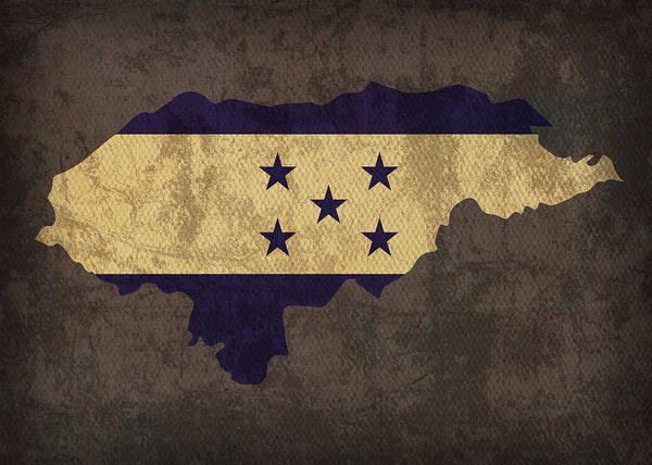 Honduras Wall Art - Mixed Media - Honduras Country Flag Map by Design Turnpike