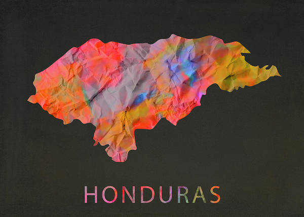 Honduras Wall Art - Mixed Media - Honduras Tie Dye Country Map by Design Turnpike