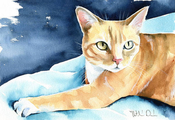 Painting - Honey Ginger Tabby Cat Painting by Dora Hathazi Mendes