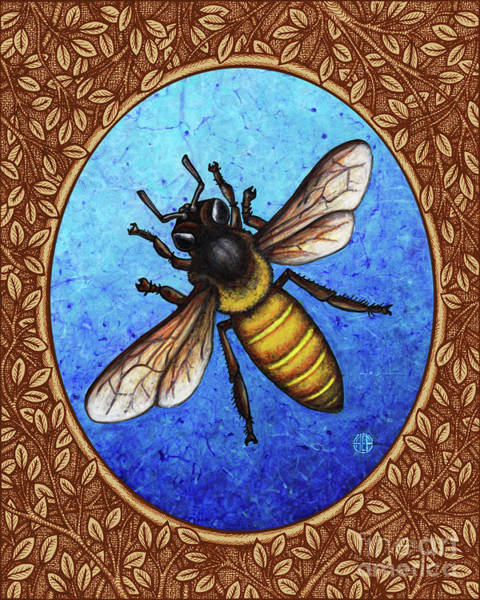 Painting - Honeybee Portrait - Brown Border by Amy E Fraser