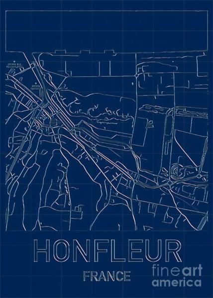 Digital Art - Honfleur Blueprint City Map by Helge