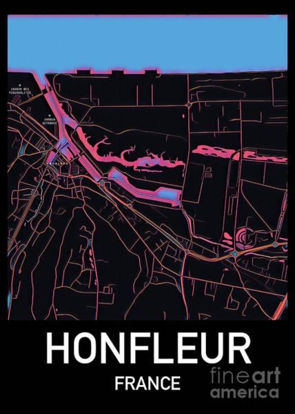 Digital Art - Honfleur City Map by Helge