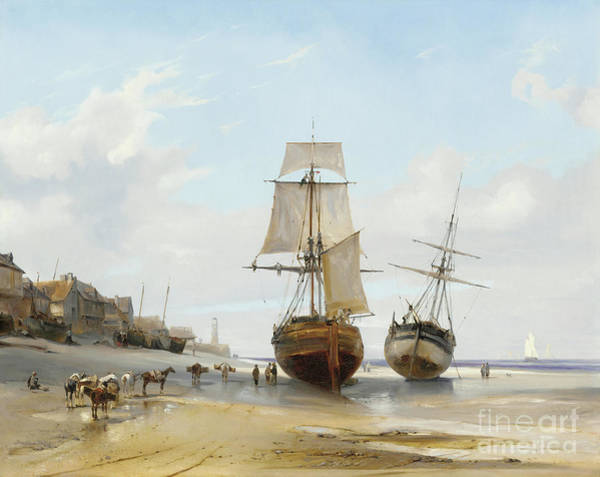 Wall Art - Painting - Honfleur, Low Tide 1827 by Louis Eugene Gabriel Isabey