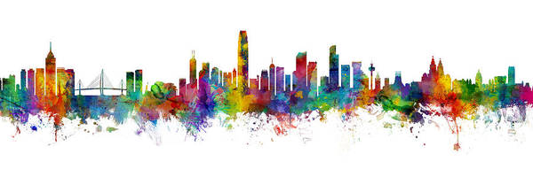 Wall Art - Digital Art - Hong Kong And Liverpool Skylines Mashup by Michael Tompsett