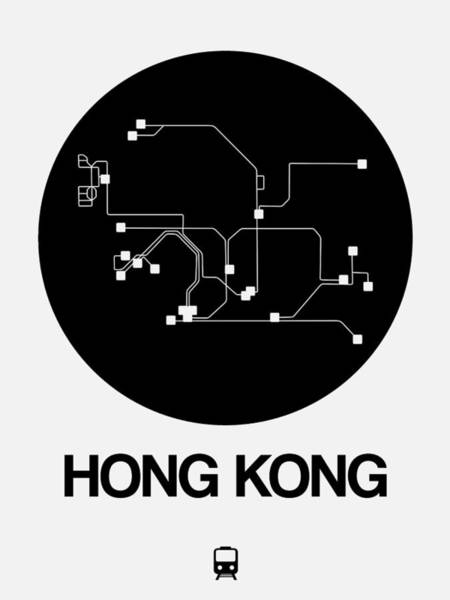 Wall Art - Digital Art - Hong Kong Black Subway Map by Naxart Studio