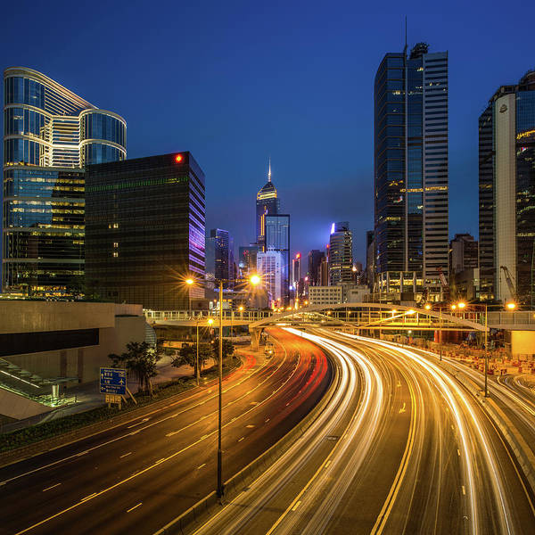 Photograph - Hong Kong City Center At Night by Coolbiere Photograph