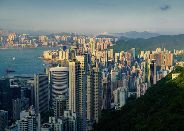 Late Afternoon Wall Art - Photograph - Hong Kong Cityscape by Dave Bowman