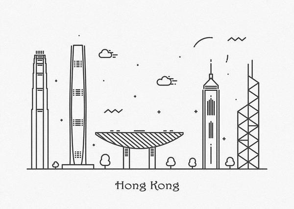 Landmark Center Drawing - Hong Kong Cityscape Travel Poster by Inspirowl Design