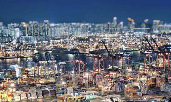 Kowloon Photograph - Hong Kong Container Terminal And City by Hugociss