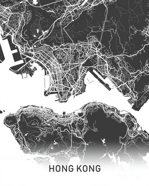 Wall Art - Photograph - Hong Kong Map Black And White by Delphimages Photo Creations