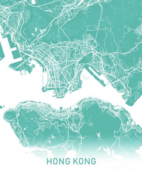 Hong Wall Art - Digital Art - Hong Kong Map Teal by Delphimages Photo Creations