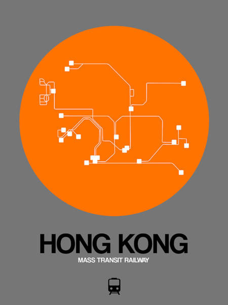 Wall Art - Digital Art - Hong Kong Orange Subway Map by Naxart Studio
