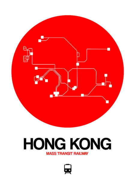 Wall Art - Digital Art - Hong Kong Red Subway Map by Naxart Studio