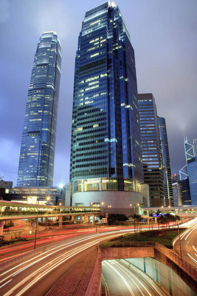 Central Business District Wall Art - Photograph - Hong Kong Skyline And Traffic At Dusk by Uschools