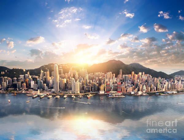 Wall Art - Photograph - Hong Kong Skyline. Hongkong Hdr Aerial by Banana Republic Images
