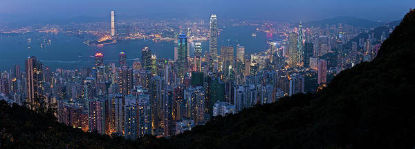 New Market Photograph - Hong Kong Skyscrapers Glittering Lights by Fotovoyager