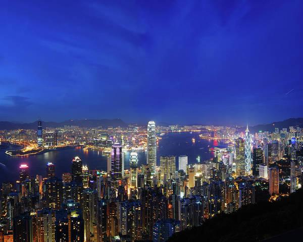 Financial Centre Photograph - Hong Kong Victoria Harbor At Night Xxl by Uschools