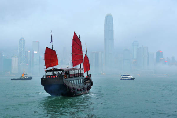 Kowloon Photograph - Hong Kong - Victoria Harbour by Fiftymm99