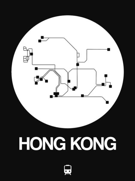 Wall Art - Digital Art - Hong Kong White Subway Map by Naxart Studio