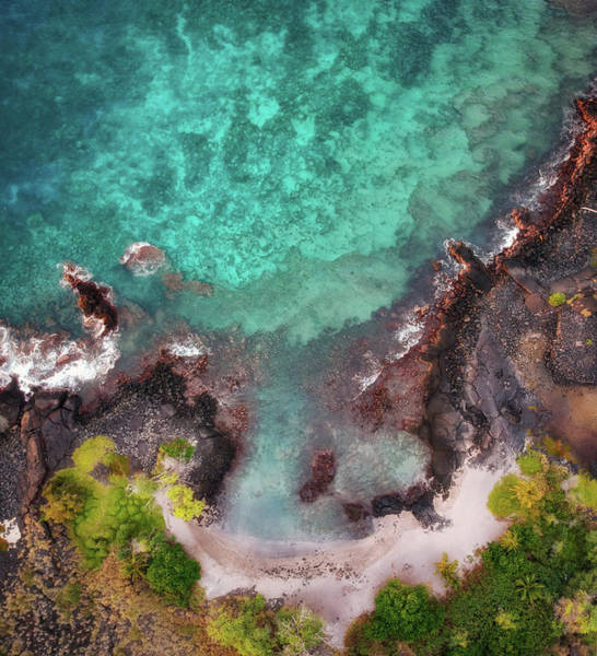 Photograph - Honokohau Harbor Beach Aerial by Christopher Johnson