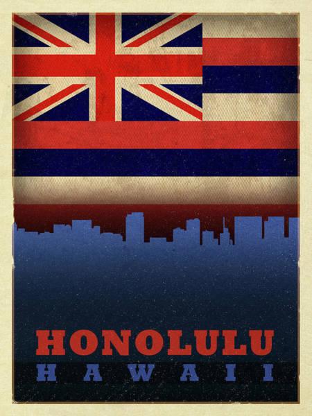 Hawaii Mixed Media - Honolulu City Skyline State Flag Of Hawaii by Design Turnpike