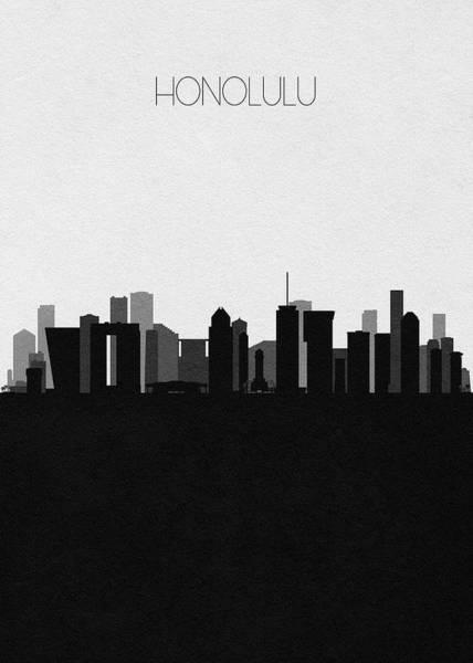 Digital Art - Honolulu Cityscape Art by Inspirowl Design