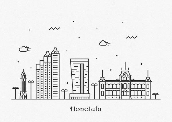 Wall Art - Drawing - Honolulu Cityscape Travel Poster by Inspirowl Design