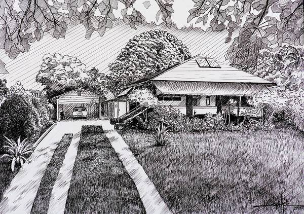 Wall Art - Drawing - Honolulu Friends Meeting House by Larry Schultz