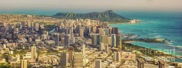 Photograph - City Of, Honolulu, Hawaii, Diamond Head Crater Panorama by D Davila
