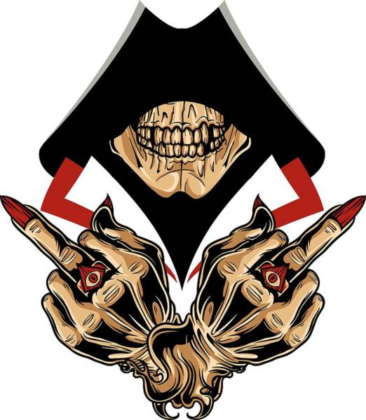 Digital Art - Hooded Skull With Demonic Hands by Passion Loft