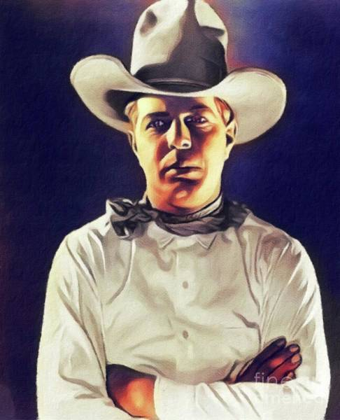 Hoot Wall Art - Painting - Hoot Gibson, Vintage Actor by John Springfield