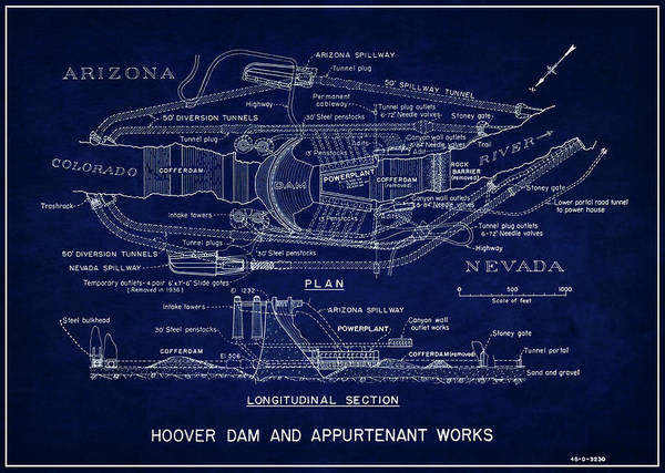 Dam Wall Art - Photograph - Hoover Dam Blueprint  1935 by Daniel Hagerman