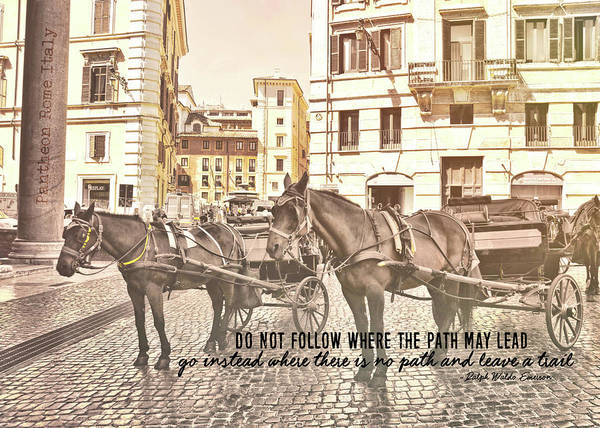 Photograph - Hooves On Cobblestone Quote by JAMART Photography