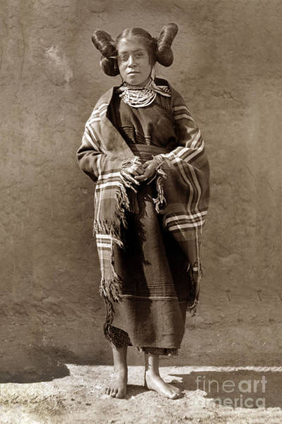 Photograph -  Hopi Maiden Squash Blossom Hairdo, Sliver Necklace  Circa 1905 by California Views Archives Mr Pat Hathaway Archives