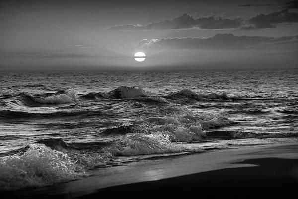 Wall Art - Photograph - Horizontal Black And White Photograph Of A Lake Michigan Sunset by Randall Nyhof