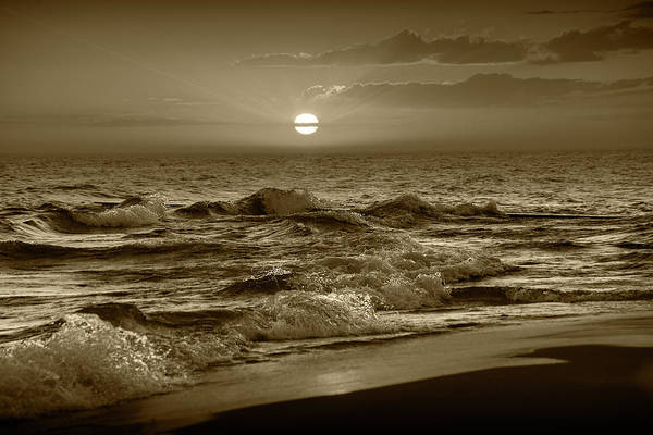 Wall Art - Photograph - Horizontal Sepia Tone Photograph Of A Lake Michigan Sunset by Randall Nyhof