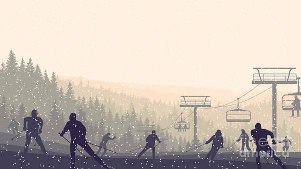Elevators Wall Art - Digital Art - Horizontal Vector Illustration Skiers by Vertyr