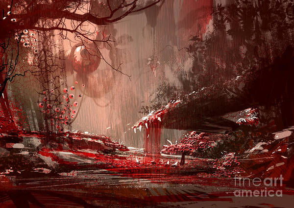 Haunted Wall Art - Digital Art - Horror Landscape Painting,illustration by Tithi Luadthong
