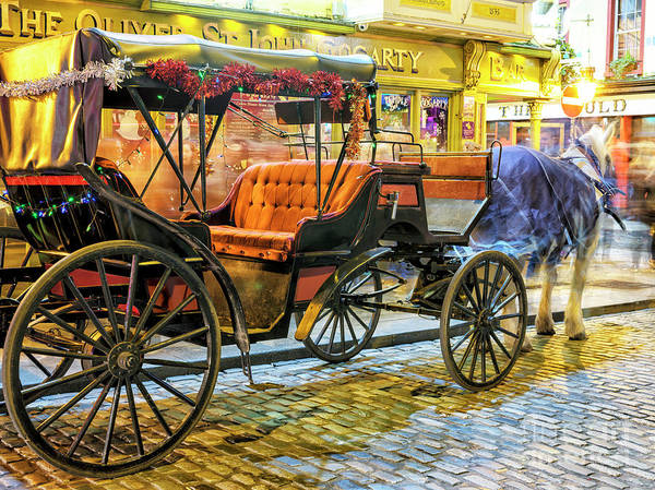 Wall Art - Photograph - Horse And Buggy At Night In Dublin by John Rizzuto