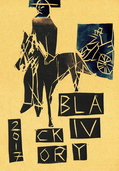Relief - Horse And Carriage Black Ivory Woodcut 18 by Artist Dot