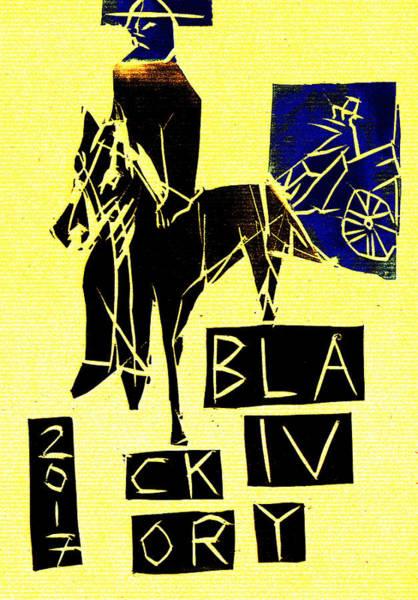 Digital Art - Horse Black Ivory Woodcut Poster 20 by Artist Dot