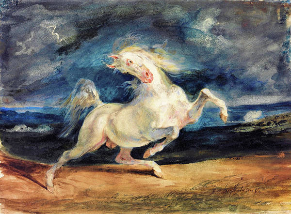 Wall Art - Painting - Horse Frightened By Lightning - Digital Remastered Edition by Eugene Delacroix