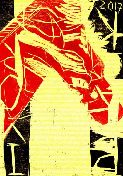 Digital Art - Horse Head Black Ivory Woodcut Poster 13 by Artist Dot
