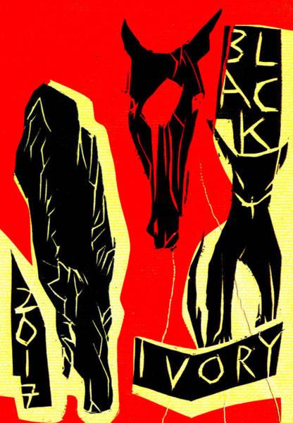 Digital Art - Horse Head Black Ivory Woodcut Poster 32 by Artist Dot