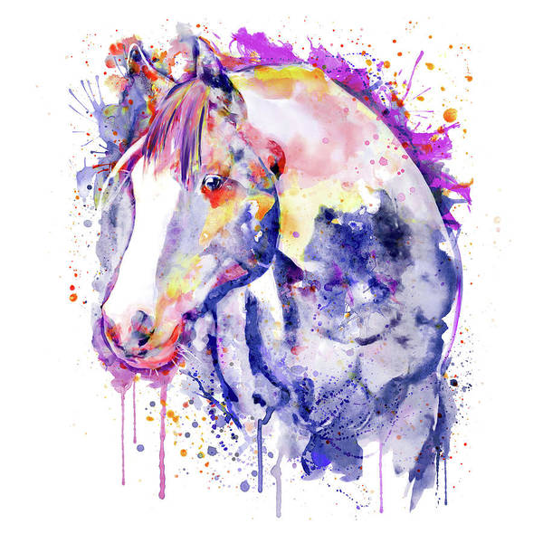 Wall Art - Painting - Horse Head Watercolor Portrait by Marian Voicu