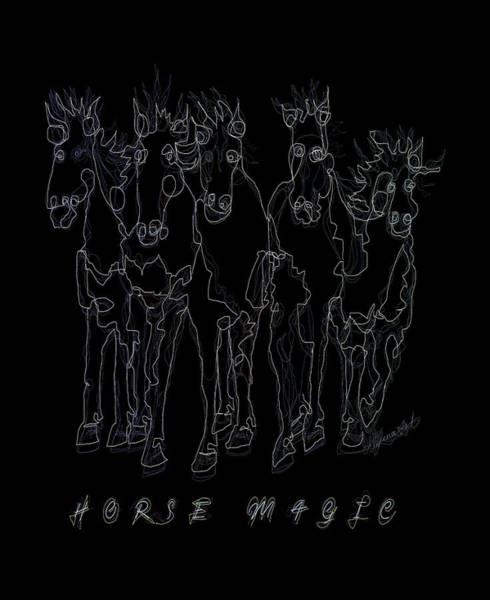 Digital Art - Horse Magic Line Drawing Horse Silhouette Design by OLena Art - Lena Owens